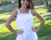 White blouses, Womens White top, White cotton top, White peasant top, White tank, White Boho top, White cotton blouses, White summer top