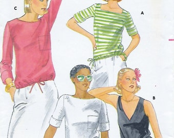 Butterick 5500 Misses' 70's T-Shirt Sewing Pattern Size 14 Bust 36 with Square, Round or V neckline