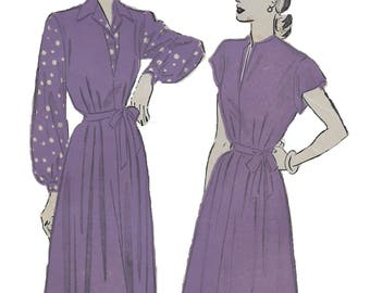 Advance 4932 Women's 40s Dress or Jumper and Blouse Unprinted Sewing Pattern Bust 34