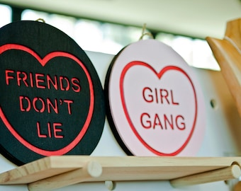 FRIENDS DON'T LIE Stranger Things Candy Love Heart Wall Hanging.