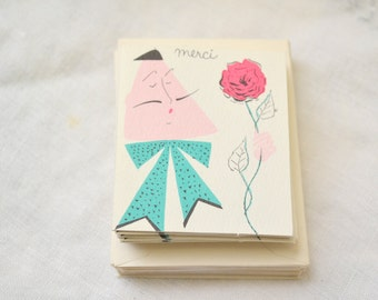 """1950s NOS Frenchman """"Merci"""" Cards, Set of 23"""