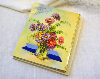 1940s NOS Floral Birthday Gift Card with Envelope