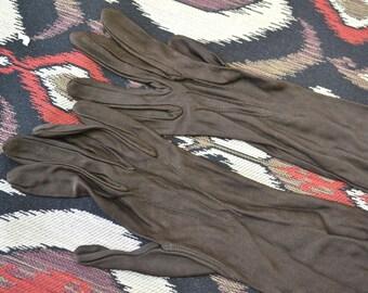 1940s Long Brown Nylon Gloves
