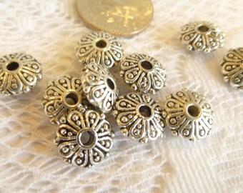 10- Fancy Filigree Silver Saucer Beads Tibetan Silver Bali Style Saucer Beads Bali Style Spacer Beads Silver Focal Beads  2.5 x 10mm