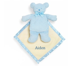 """10"""" Personalized Baby Bear Cozy - Blue"""