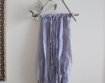 Wall Hanging | Décor | Smoky Quartz | Driftwood | Dried Flowers | Chiffon