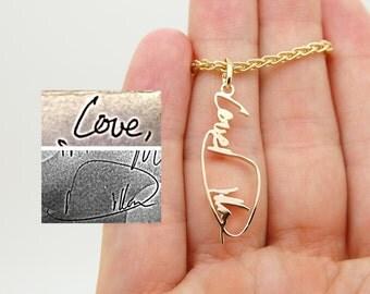 Handwriting Charm for Bracelet - 14K Gold Name Charm - Custom Name Charm - Custom Handwriting Pendant - Memorial Charm