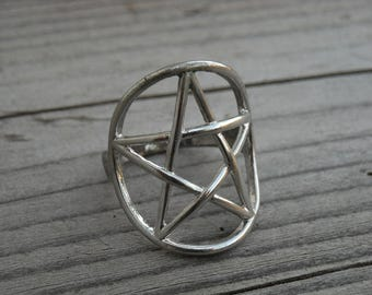 Vintage Silver Pentacle Pentagram Ring Size 7 Pentagram Jewelry Gothic Goth Heavy Metal Witch Craft Occult Witchcraft Wiccan Pagan Wicca