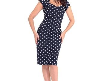 New Retro Vintage 40s/50s Style Navy Polka Dot Regina Wiggle Dress Rockabilly Pin Up 50s