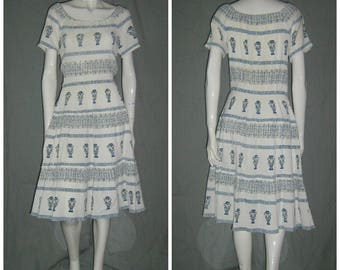 1950s  60s Greek Novelty Print Dress Full Tiered Skirt  Grecian Urns Vases  Drawstring Neck Vintage Sundress  Tiki Oasis Rockabilly