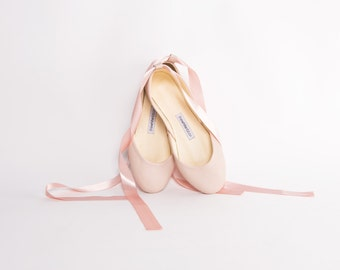Nude Blush Ballet Flats with Satin Ribbons | Tie Around Ballerina Style Flat Shoes | Bridal Ballet Flats | Nude ... Ready to Ship!
