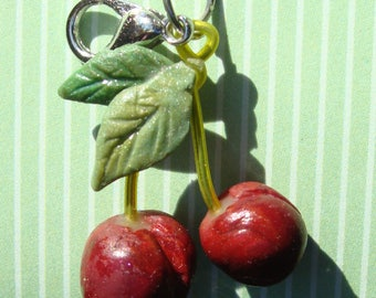 Sweet Michigan Cherries - polymer clay charm