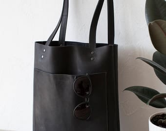 Black Mexican Leather Tote bag No. LPB-2055