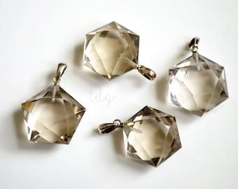 Natural Sterling Silver Hexagon Faceted Pendant Smokey Quartz Edge, 25x16mm