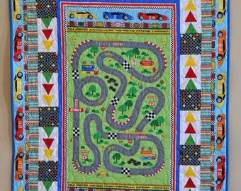 Race Car Toddler Quilt, Baby Boy Blanket, Racing Car Nursery Decor, Cotton Bedding
