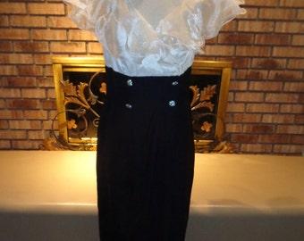 Vintage 80s Holiday Christmas Black and White Chiffon Rhinestone Tuxedo Dress