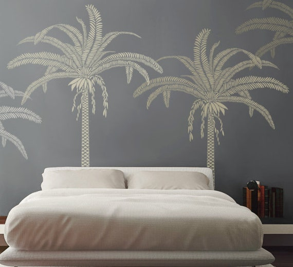 new palm tree stencil for walls large 7 5 feet tall. Black Bedroom Furniture Sets. Home Design Ideas