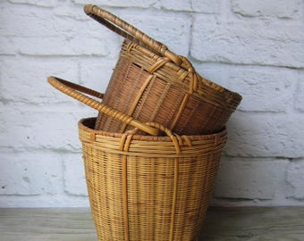 Two Vintage  Baskets Rustic Handled Baskets