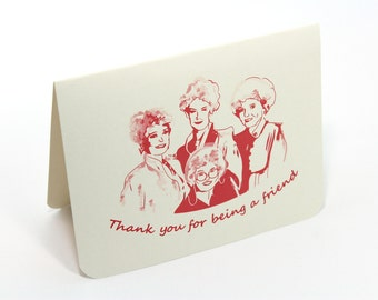 Golden Girls Thank You for being a Friend Card - Single Thank you card - Eco friendly Stationery - Retro Vintage, Bridesmaids Cards
