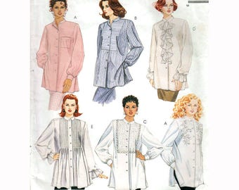 """Romantic Blouse Sewing Pattern Nehru Collar Tuxedo Front Ruffled Shirt Vintage 90s Size XS-Med Bust 32.5-36"""" (78-92 cm) McCall's 7171 S"""