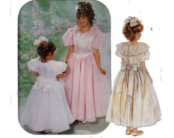 """Girls Dress Bridesmaid Flower Girl First Communion UNCUT Sewing Pattern FancPetticoat Size 7-10 Breast 26-28.5"""" (66-73 cm) McCall's 6439 S"""