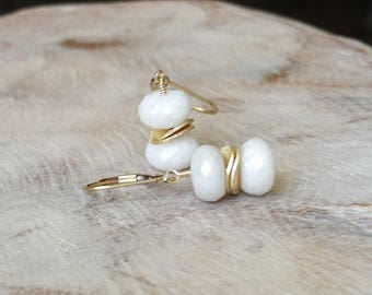 Gold White Sapphire Earrings