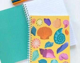 A5 Notebook Sea Shells Illustration Pattern Spiral Bound Journal