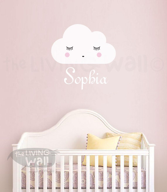Personalized Baby Name Wall Decal Girl Name Whith Dreaming Cloud - Baby name wall decals