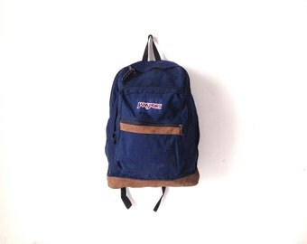 JANSPORT navy BLUE and brown leather backpack 90s LEATHER & canvas rucksack backpack