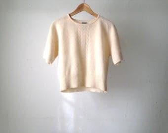 vintage CREAM soft medium boxy LAMBSWOOL short sleeve sweater