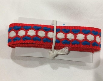 Heart Trim, Vintage Heart Print Trim Yardage, Red, White & Blue Trim, Vintage Sewing Crafting Embellishing Supplies