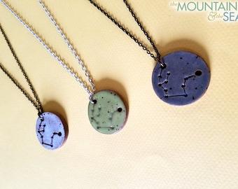 Aquarius Constellation Necklace – Round Ceramic Pendant Necklace, Zodiac Jewelry, Constellation Jewelry