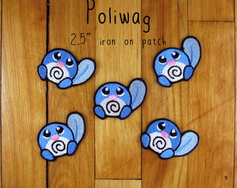 "Poliwag iron-on patch 2.5"" pokemon embroidered embroidery iron on patch"