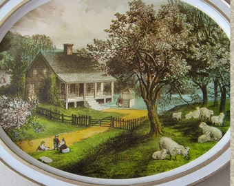 Lovely Currier and Ives Sunshine Biscuit Oval Tin Serving Tray The American Homestead Spring Wall Decoration Wall Adornment Cookie Tray