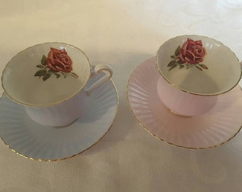 Paragon Tea Cup and Saucer- Two Sets; Pink & Blue; Featuring A Red Rose Inside The Cups circa 1957-1960's  DR
