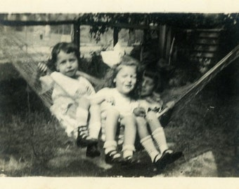 "Vintage Photo ""Three Peas in a Hammock"" Snapshot Antique Photo Old Black & White Photograph Found Paper Ephemera Vernacular - 48"