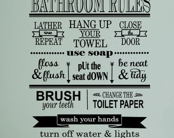 Bathroom Rules Vinyl Wall Decal   Bathroom Decor, Bathroom Wall Decal, Bathroom  Wall Art