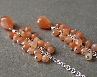 20% Off - Peach Moonstone & Sterling Silver Cluster Drop Earrings