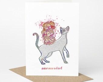 Siamese Cat Card - Siamese Whirl (cat birthday card, funny cat card, cute cat card, blank cat card, cat greeting card, cat foodie card)