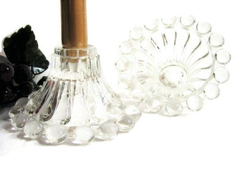 Anchor Hocking BERWICK Boopie Candleholders, Pair, Set of 2 ... Vintage Clear Candlewick Pressed Glass Candle Holders, Candlesticks