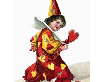 Valentine's Day Card - Red Clown with Heart - Repro Clapsaddle Greeting Card