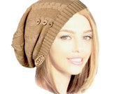 Beige Neutral Wool Slouch Knitted Beanie Burgundy Red Gray Hat Tam Cap Winter Warm Boho Chic Lace Coconut Button Details: Handmade ShariRose