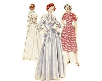 1950s Misses Housecoat Pattern, Shawl Collar, Cuffed Sleeves, V Neckline, FF, Bust 36, Size 18, Butterick 6418 Vintage Sewing Pattern
