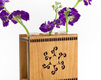 Test Tube Vase - Bud Vase - Glass and Wood Vase - Sun Vase - Wall Mounted Vase - Wall Vase - Hanging Flower Vase - Stars and Trees Vase