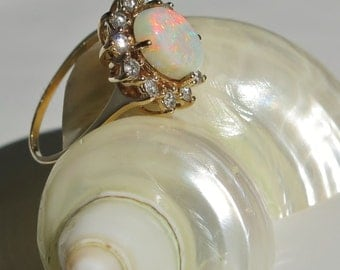 Vintage Opal and Diamond Ring Halo 14K Gold Size 9 with Appraisal 3 Carat Opal 12 Full Cut Diamonds Total 1/2 Carat