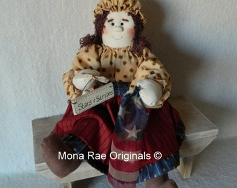 """Betsy Ross Doll ~ Patriotic 24"""" Doll ~ July4th, Labor Day, Independence Day Art Doll"""