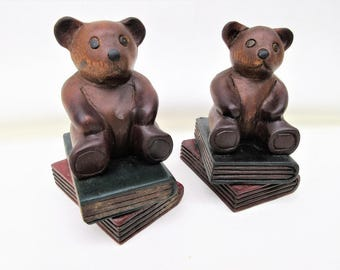 Vintage Wooden Bears | Bear Bookends | Teddy Bears | Wooden Book Ends
