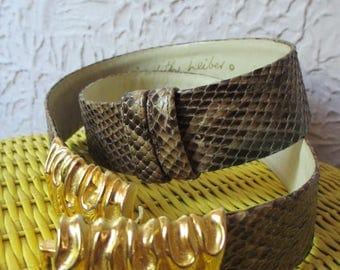 80's Vintage Judith Leiber Snakeskin Belt large