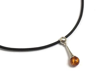 Amber Sterling Silver Delicate Charm Elegant Black Leather Choker Necklace, Party Christmas Holiday Gift for BFF, Sister Millennial Daughter