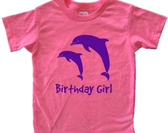 Birthday Shirt - Birthday Girl Dolphin Shirt  Shirt - Girls Tshirt T Shirt - Sizes 2, 4, 6, 8, 10, 12 Super Soft Tee - Birthday Party Gift